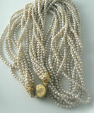 Multi Strand Miriam Haskell Glass Pearl Necklace - Vintage Lane Jewelry