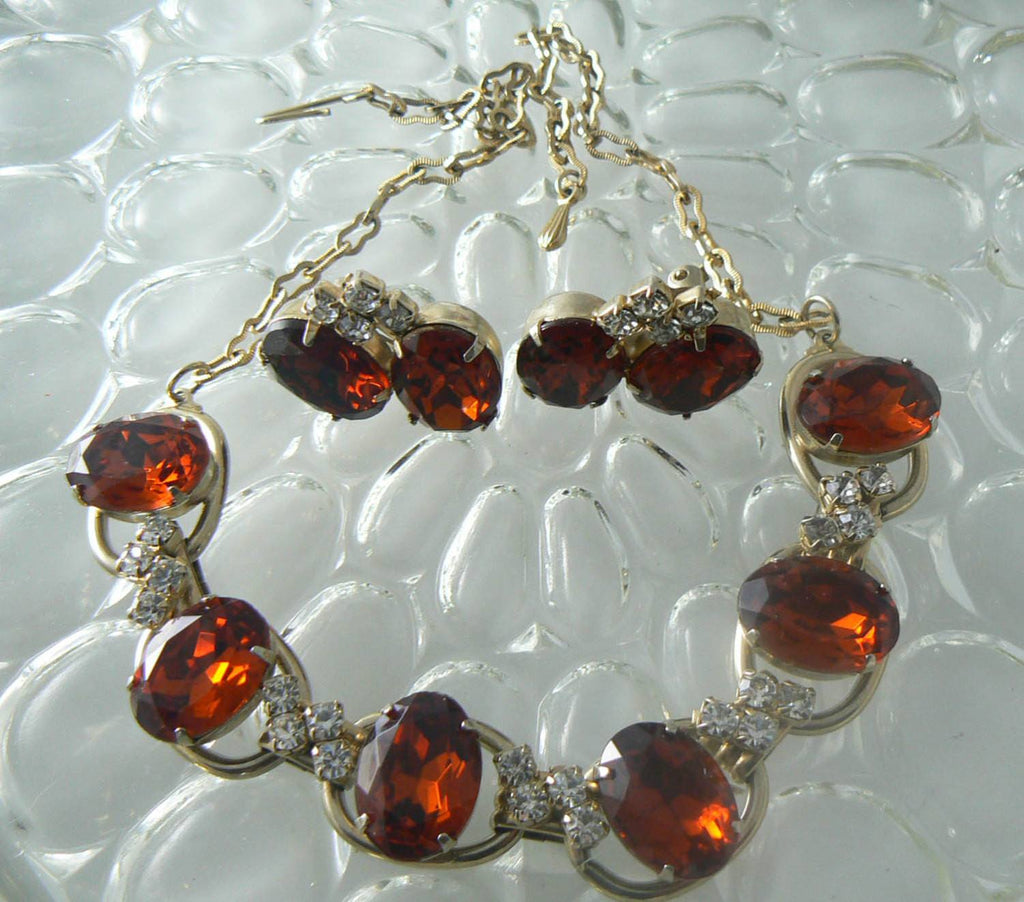RootBeer Glass Rhinestone Necklace And Earrings - Vintage Lane Jewelry - 2