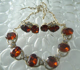 RootBeer Glass Rhinestone Necklace And Earrings - Vintage Lane Jewelry