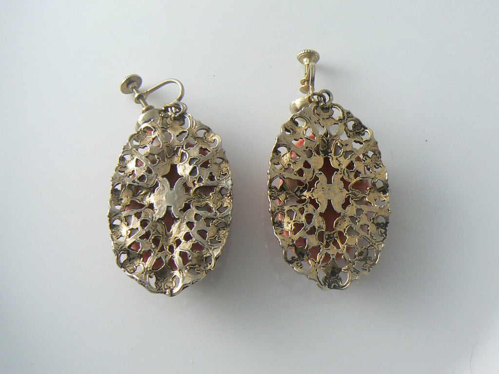 Molded Coral Glass Earrings - Vintage Lane Jewelry