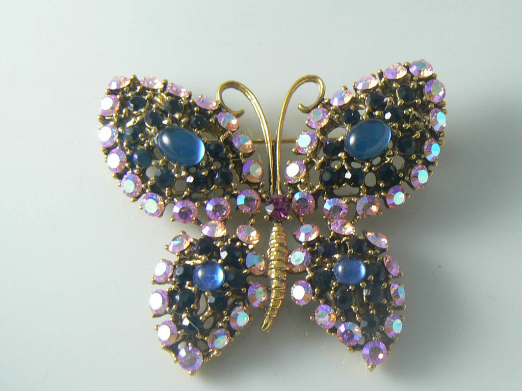Weiss Sparkling Pink And Black Rhinestone Butterfly - Vintage Lane Jewelry