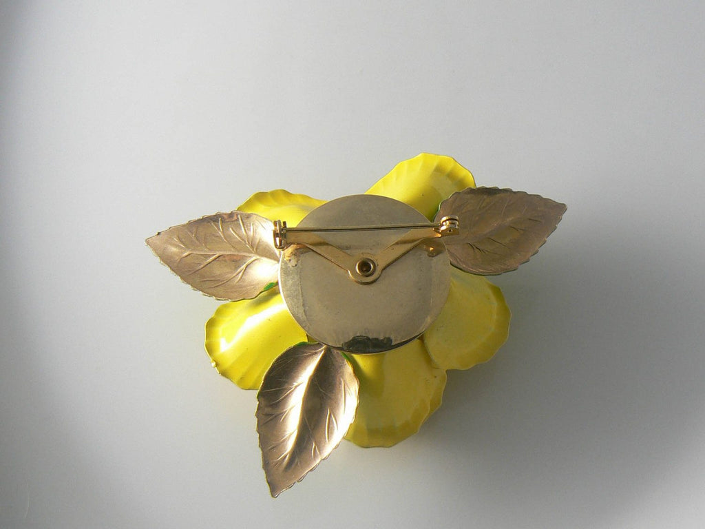 Enamel Yellow Rose Pin. - Vintage Lane Jewelry