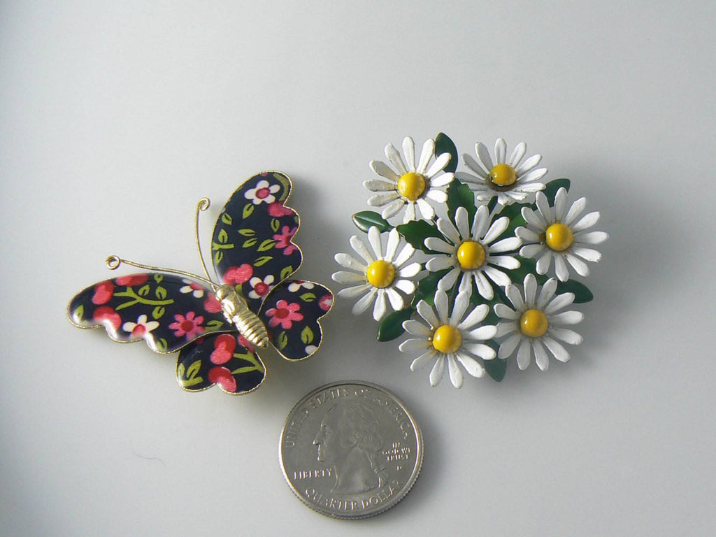 Vintage Enamel Daisy Pin And Butterfly - Vintage Lane Jewelry