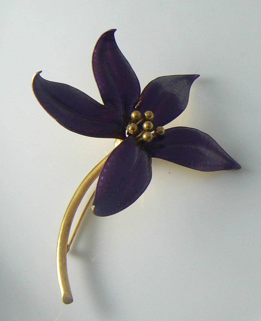 Enamel Purple Orchid Pin - Vintage Lane Jewelry