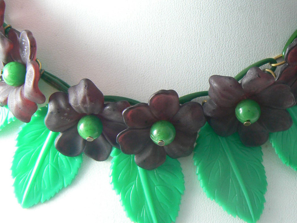 Vintage Early Plastic Celluloid Lucite Violets And Leaves Necklace - Vintage Lane Jewelry