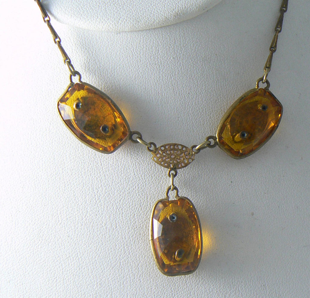 Vintage Art Deco Amber Topaz Bezel Rhinestone Necklace - Vintage Lane Jewelry