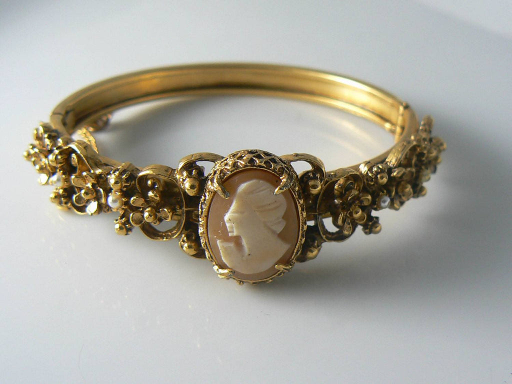 Vintage Florenza Shell Cameo Pearl Hinged Bracelet - Vintage Lane Jewelry