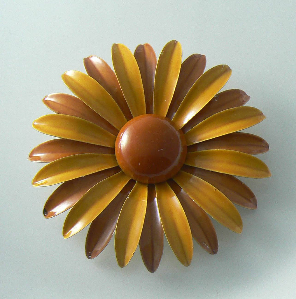 Brown And Mustard Yellow Enamel Daisy Pin - Vintage Lane Jewelry