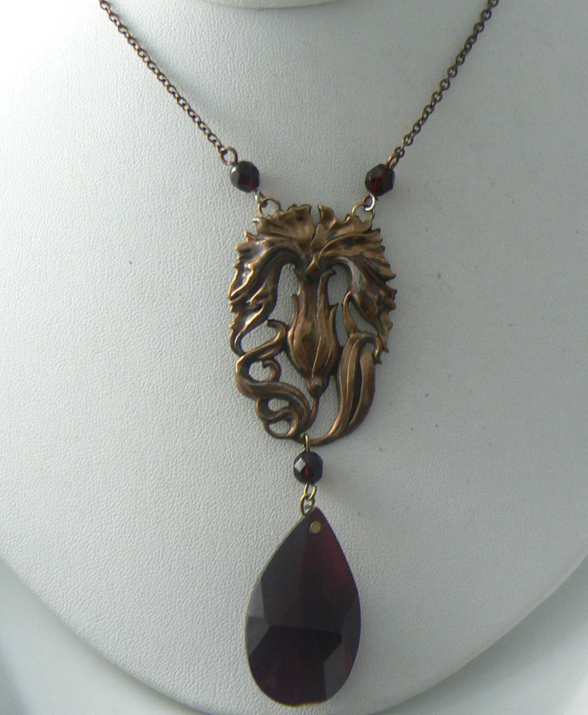 Vintage Art Nouveau Style Brass/copper Repousse Garnet Glass Necklace - Vintage Lane Jewelry