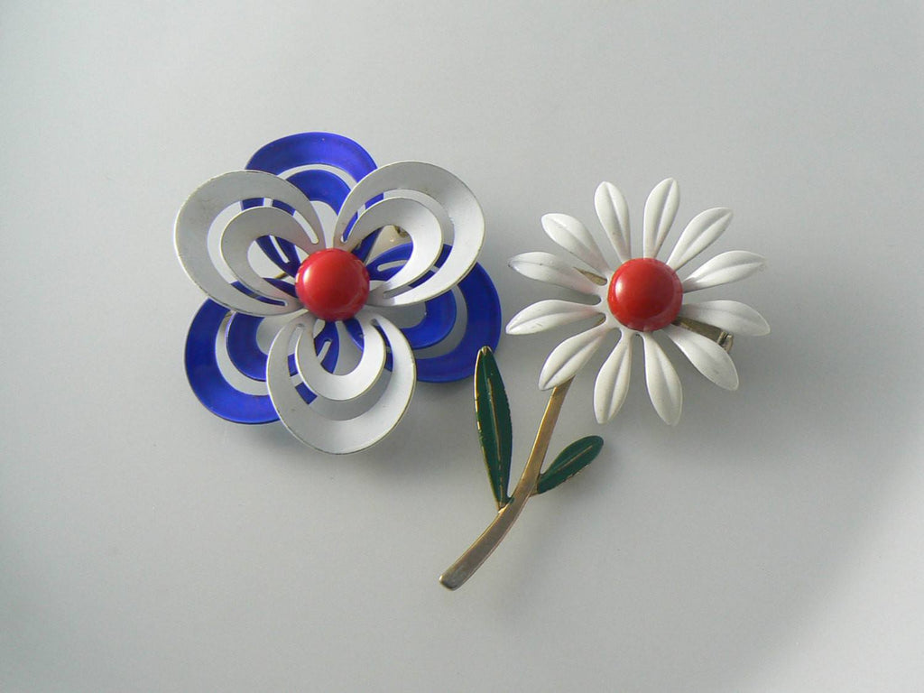 Red, White And Blue Enamel Daisies - Vintage Lane Jewelry