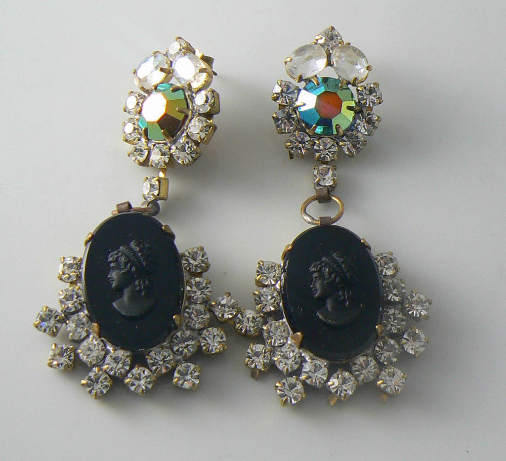 Czech Black Glass Cameo And Rhinestone Earrings - Vintage Lane Jewelry