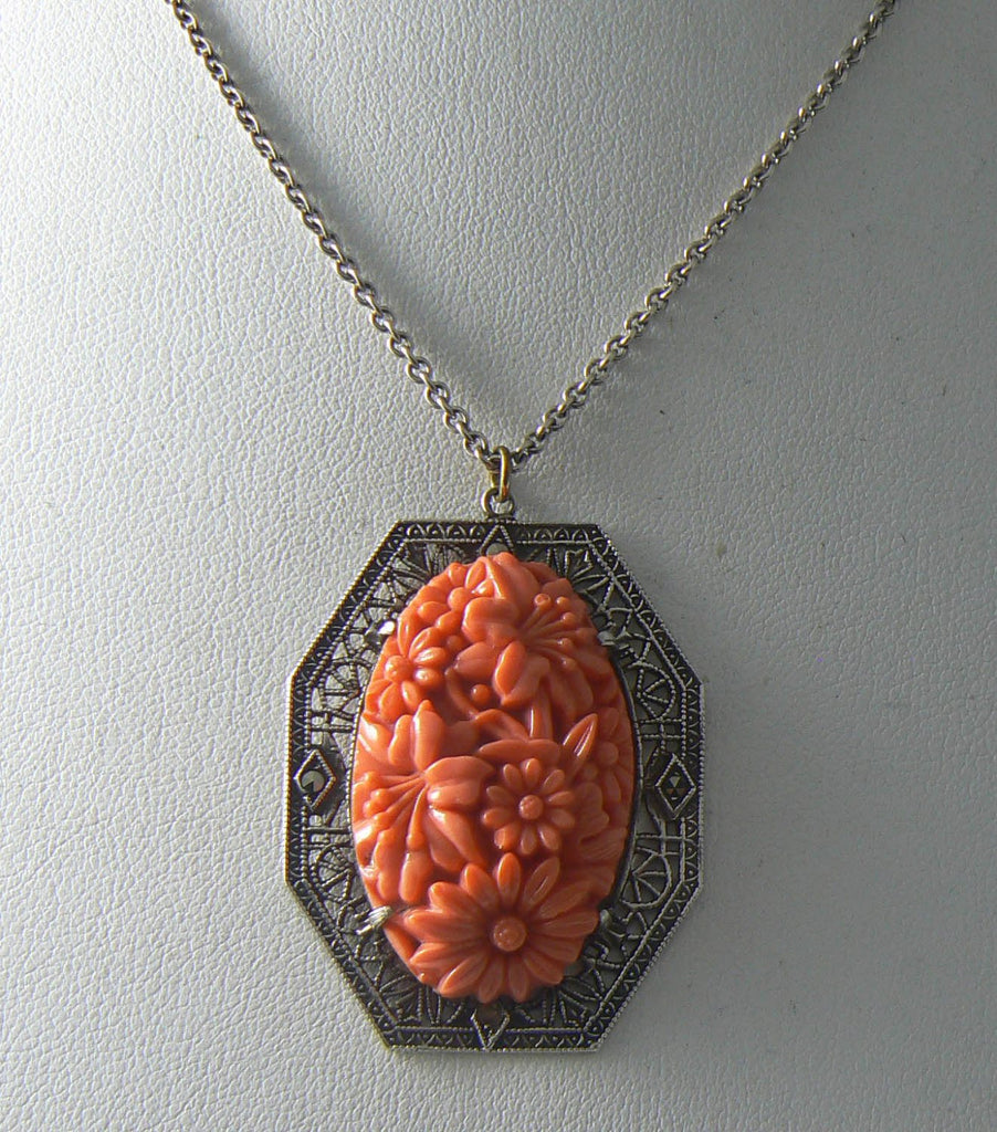 Vintage Art Deco Filigree Sterling Poured Coral Glass Necklace - Vintage Lane Jewelry