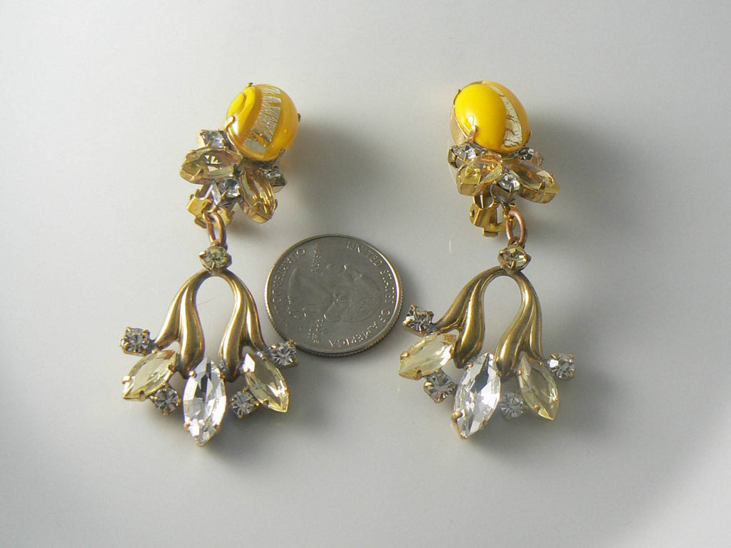 Czech yellow and silver cabochon marquise rhinestone Earrings - Vintage Lane Jewelry