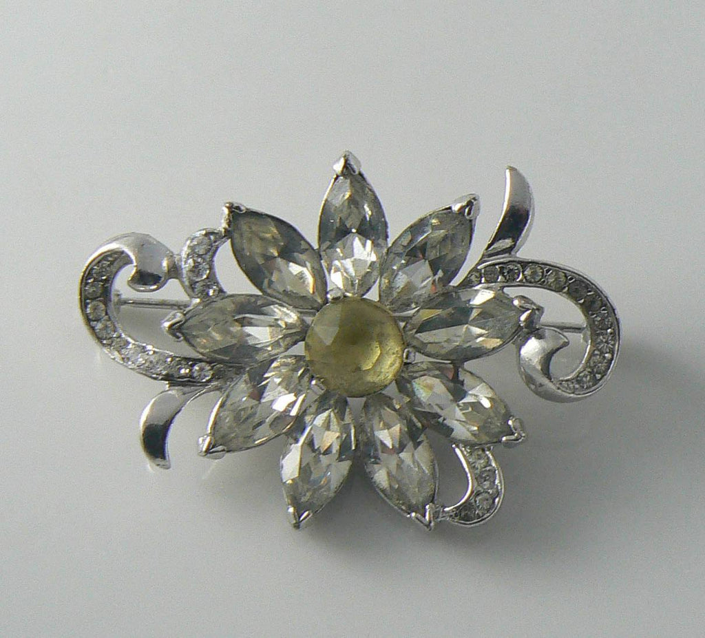 Vintage Rhinestone Brooch Signed Kramer Of New York - Vintage Lane Jewelry