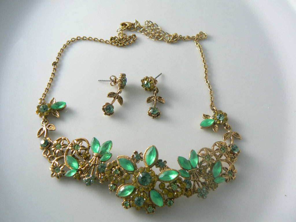Lime Green And Emerald Green Floral Necklace And Earrings - Vintage Lane Jewelry