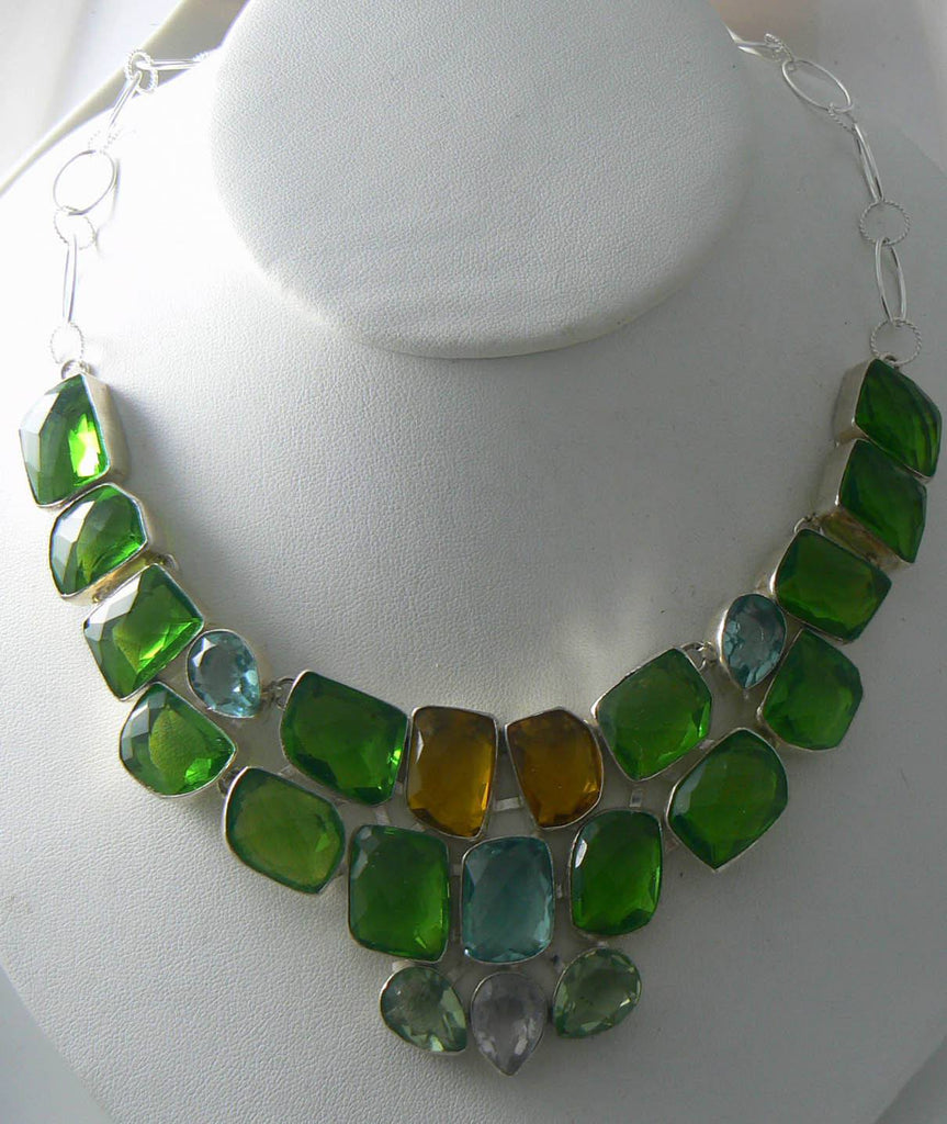 Lithuanian Peridot, Apatite, Citrine Topaz Necklace - Vintage Lane Jewelry