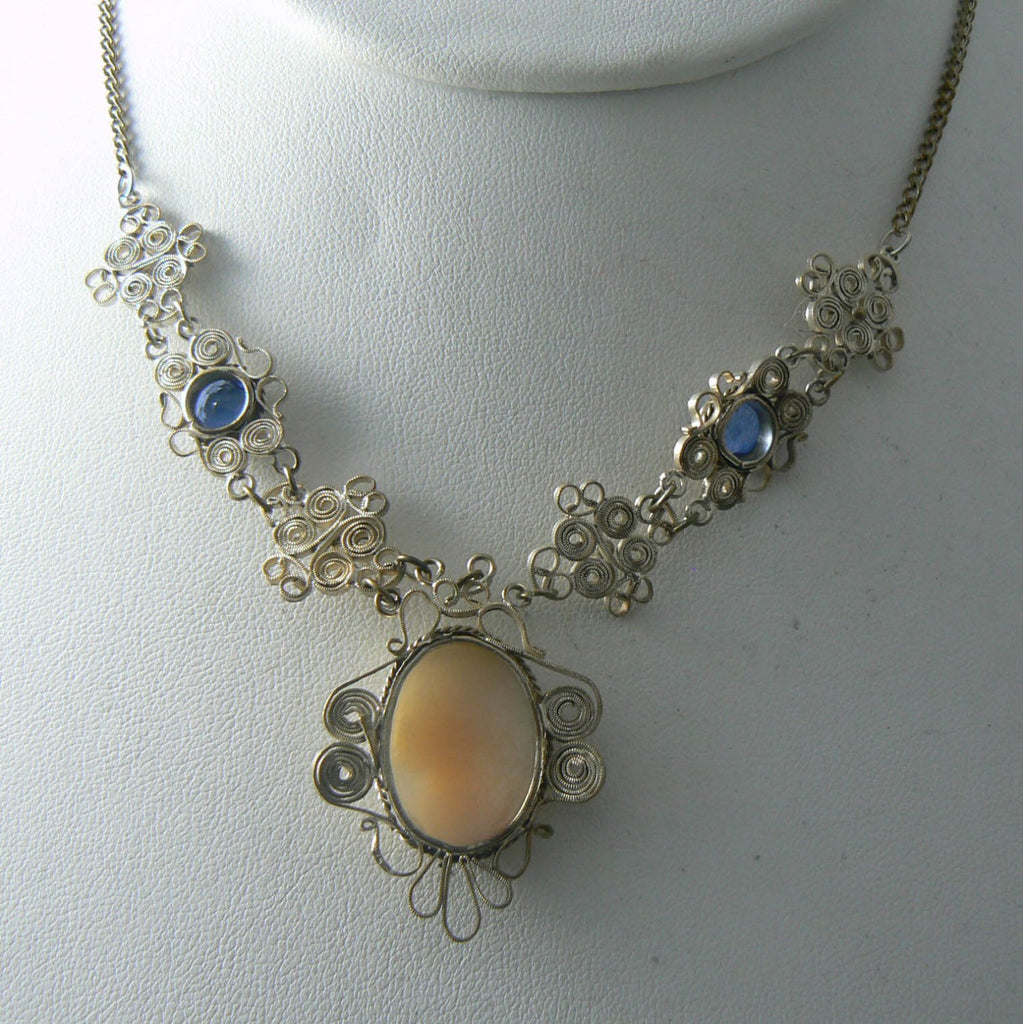 Beautiful old silver filigree carved shell cameo necklace - Vintage Lane Jewelry