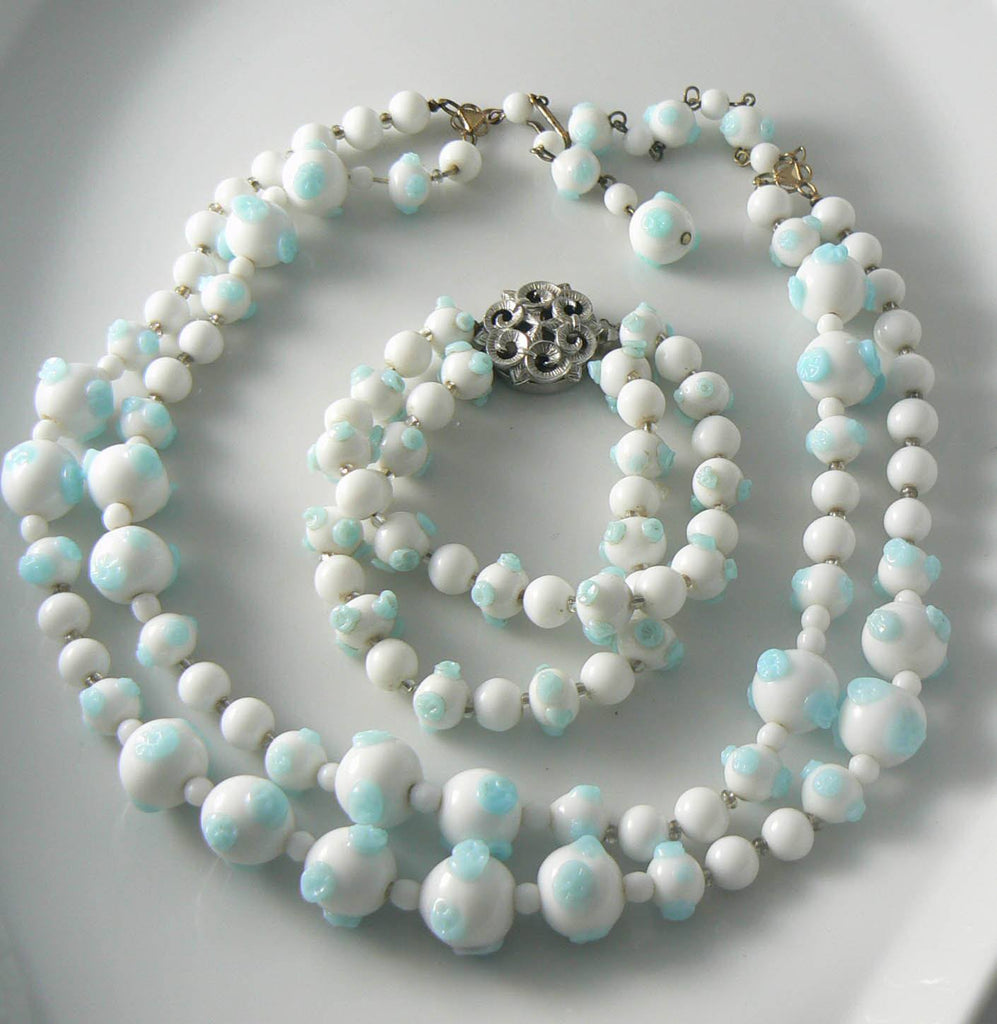 Blue And White Glass Bead Trifari Necklace Bracelet Set - Vintage Lane Jewelry