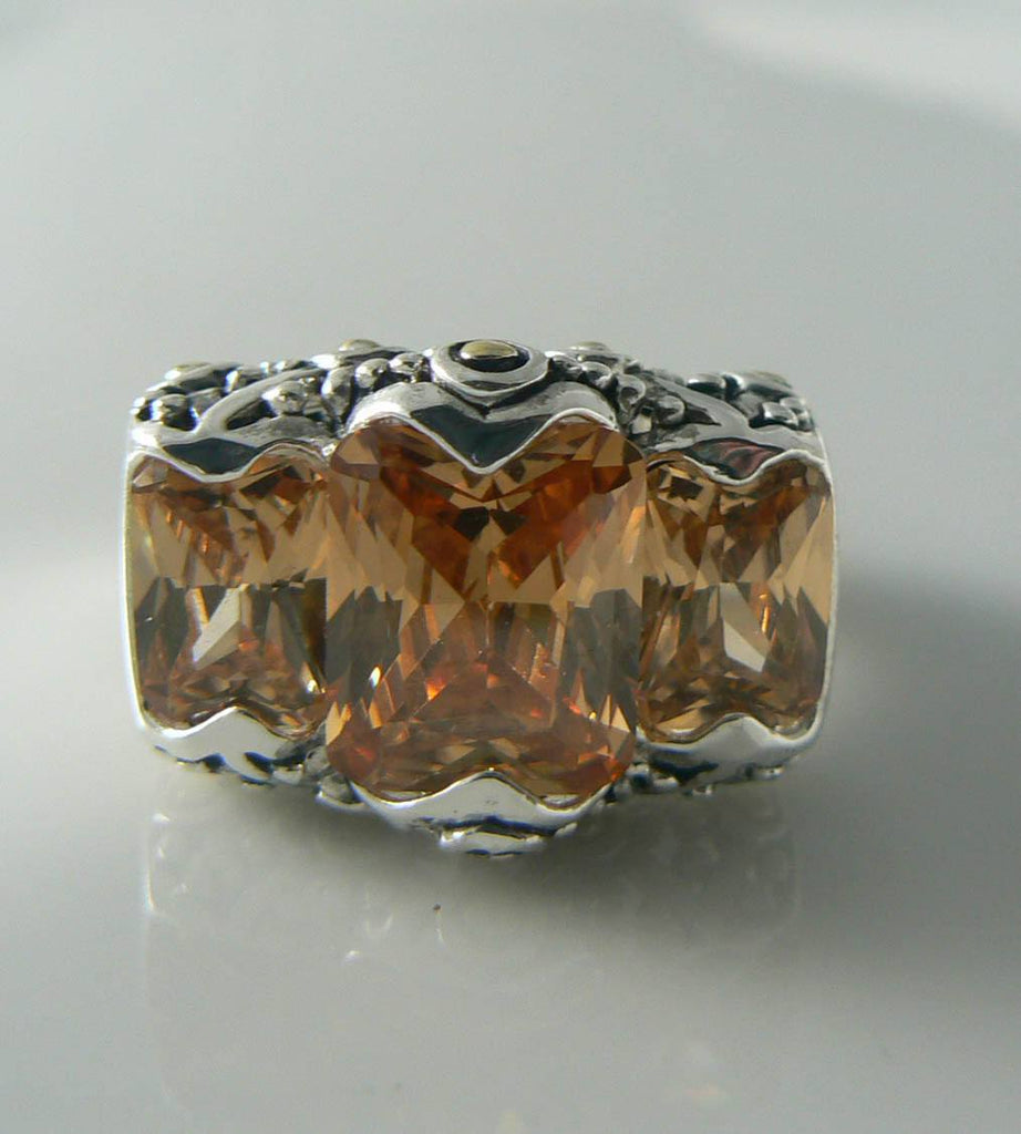 Sterling Silver 18tcw Champagne Quartz Estruscan Ring - Vintage Lane Jewelry