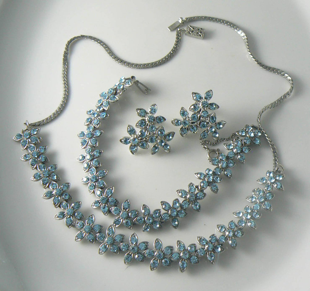Beautiful Baby Blue Rhinestone Flowers Necklace Bracelet Earring Set - Vintage Lane Jewelry