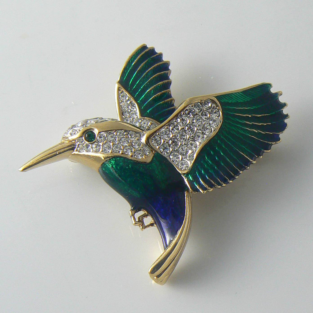 Signed Attwood And Sawyer Enamel Rhinestone Kingfisher Bird Brooch - Vintage Lane Jewelry
