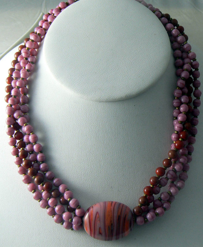 Miriam Haskell Red And Pink Art Glass Necklace - Vintage Lane Jewelry