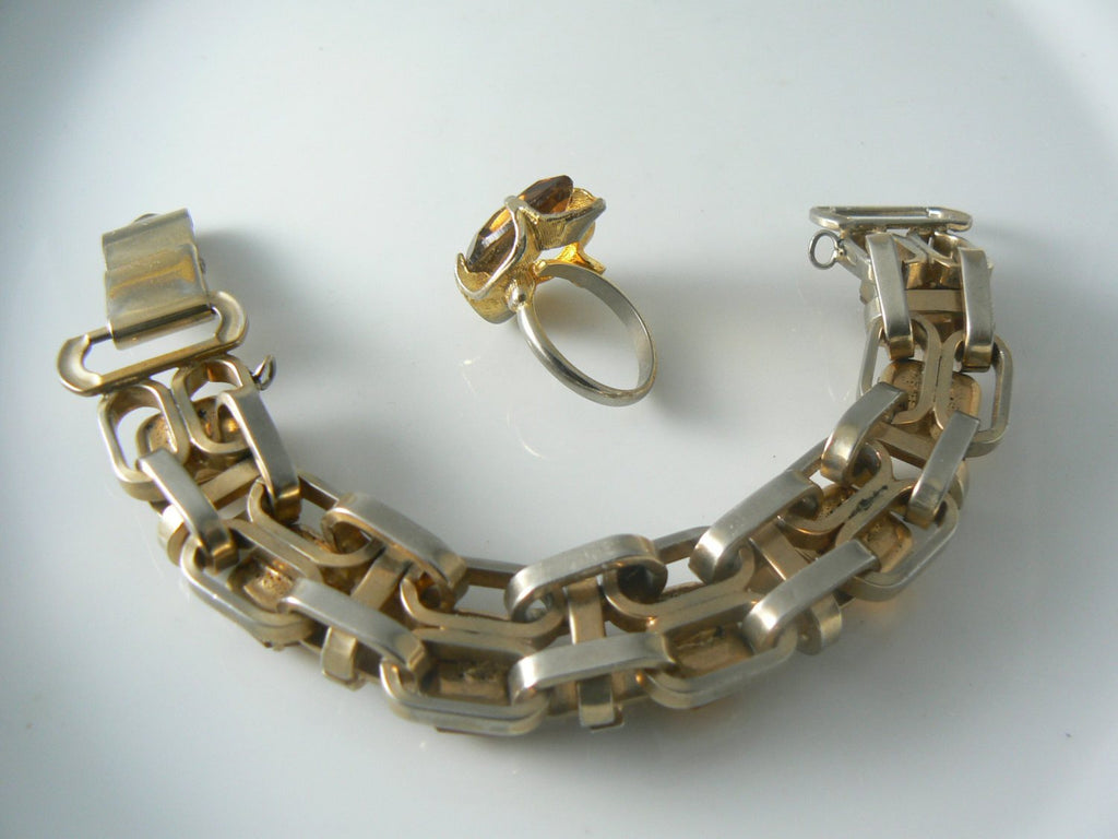 Amber Faceted Crystal Glass Gold Link Bracelet Ring Set - Vintage Lane Jewelry