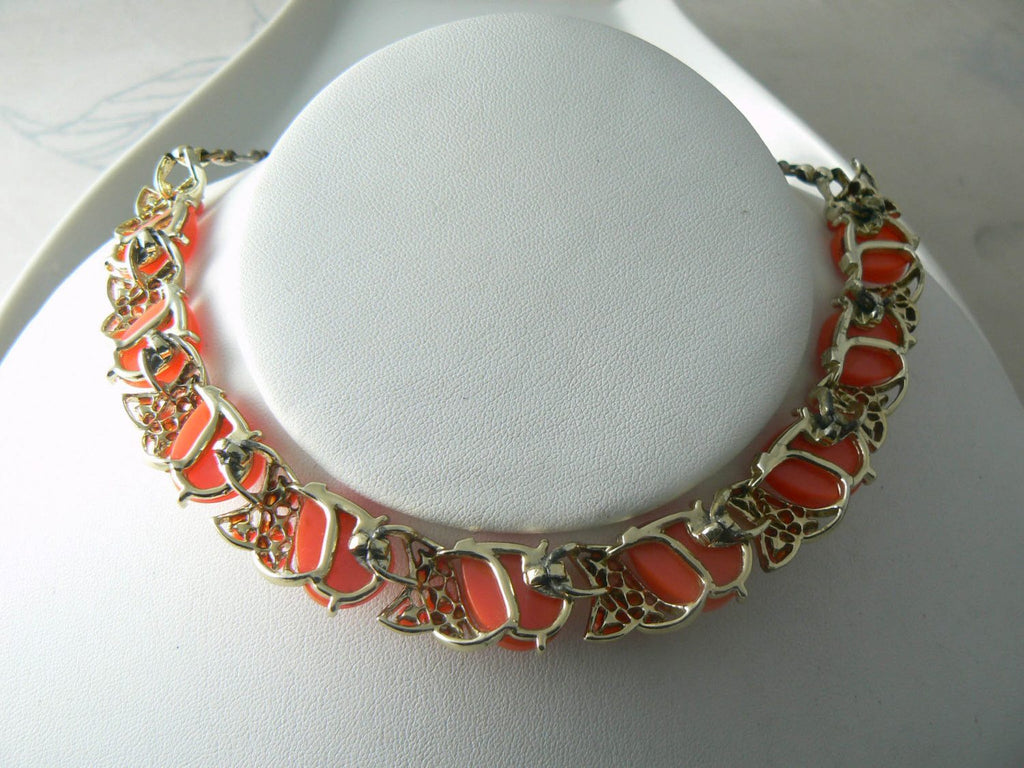 Vintage Orange/pink Thermoset Plastic Cabochon Necklace - Vintage Lane Jewelry