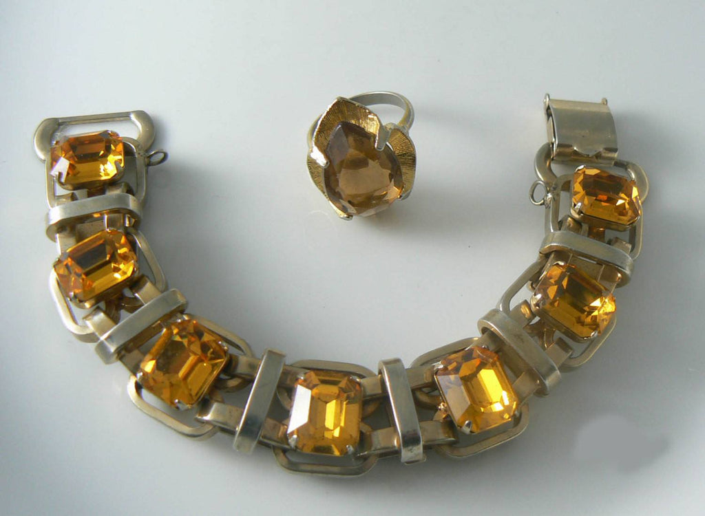 Amber Faceted Crystal Glass Gold Link Bracelet Ring Set - Vintage Lane Jewelry - 1