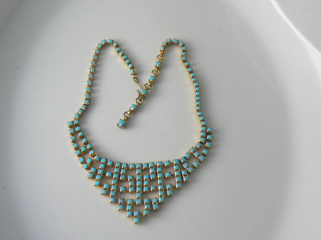 Vintage Necklace Turquoise Blue Gold Tone Choker - Vintage Lane Jewelry - 2