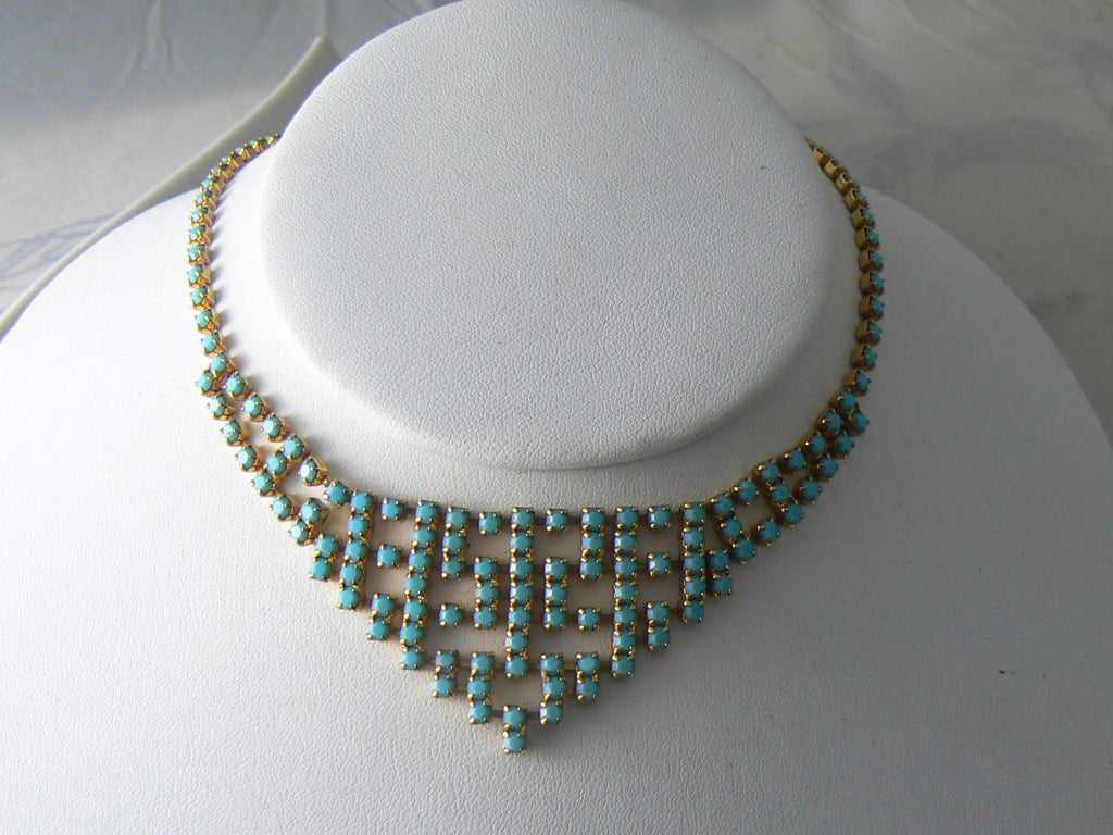 Vintage Necklace Turquoise Blue Gold Tone Choker - Vintage Lane Jewelry - 1