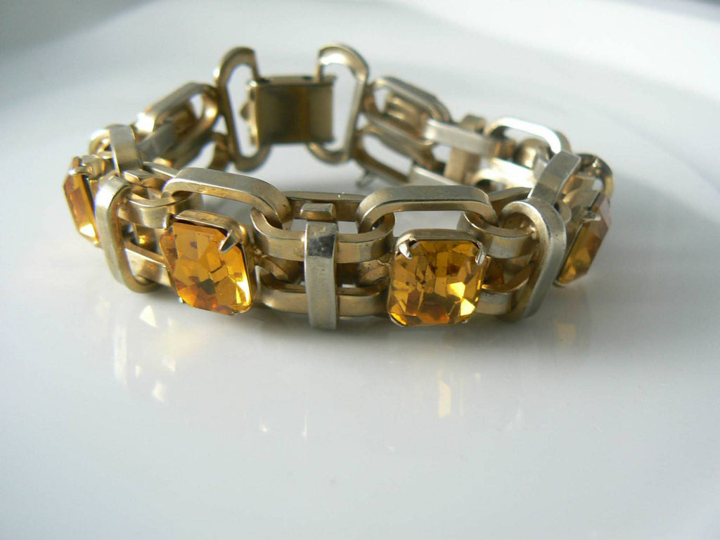 Amber Faceted Crystal Glass Gold Link Bracelet Ring Set - Vintage Lane Jewelry - 2