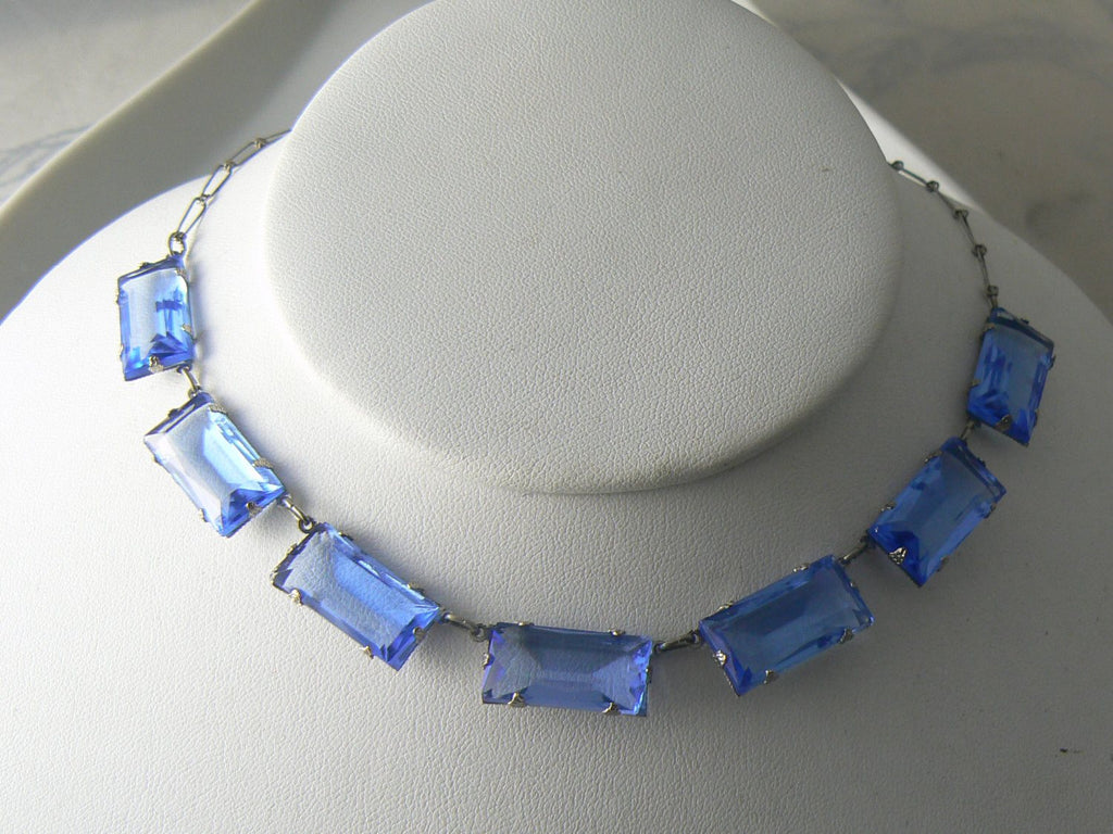 Beautiful Art Deco Blue Rectangular Glass Panel Necklace - Vintage Lane Jewelry