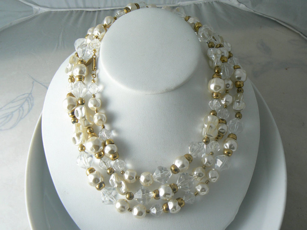 Amazing Art Glass Baroque Pearl Miriam Haskell Necklace - Vintage Lane Jewelry