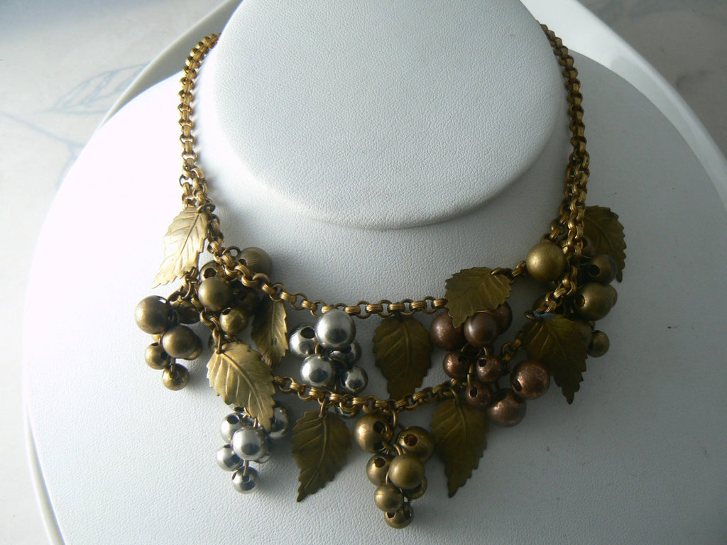 Grape Cluster Leaf Necklace In Brass, Silver, Copper Tones - Vintage Lane Jewelry