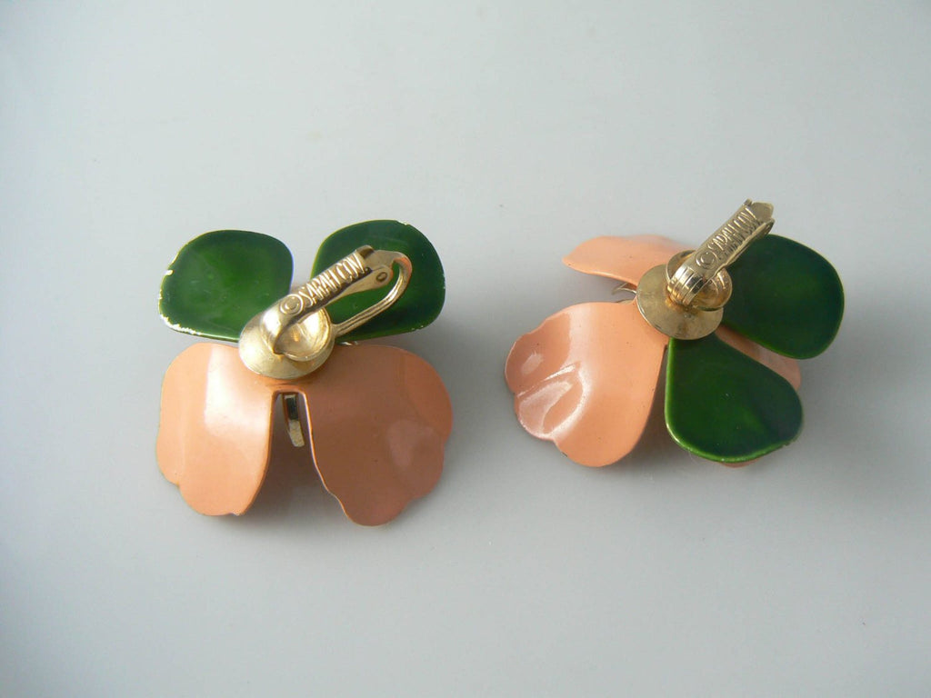 Sarah Coventry Peach Enamel Flower Earrings - Vintage Lane Jewelry