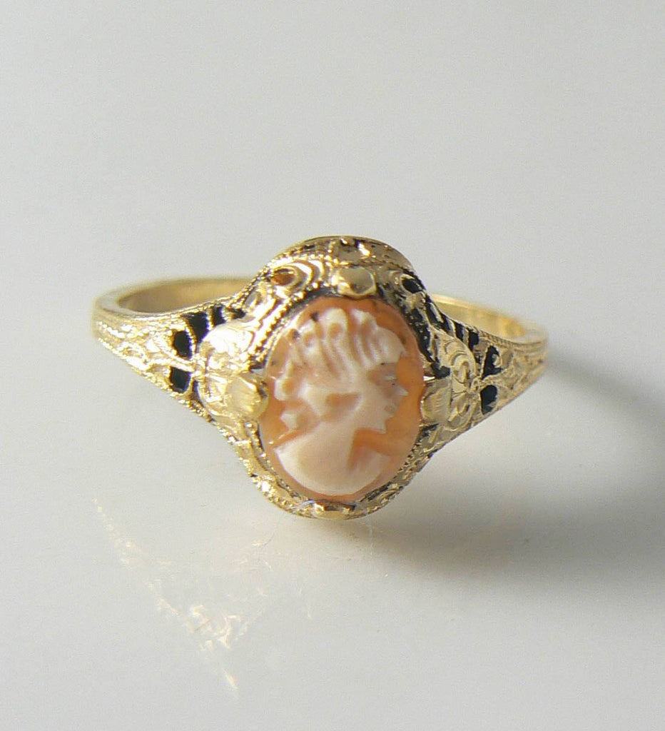Vintage Art Deco Gold Filled Shell Cameo Ring - Vintage Lane Jewelry