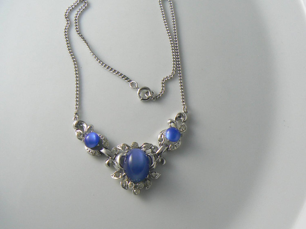 Vintage Art Deco Blue And Clear Rhinestone Necklace - Vintage Lane Jewelry - 1
