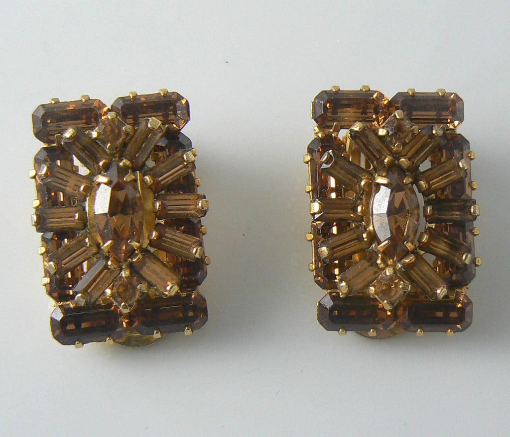 Vintage Weiss Brown Rhinestone Clip Earrings - Vintage Lane Jewelry - 1