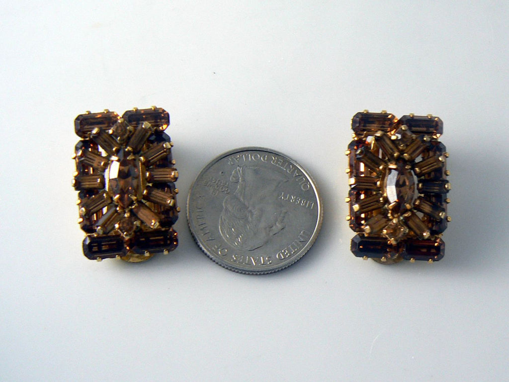 Vintage Weiss Brown Rhinestone Clip Earrings - Vintage Lane Jewelry