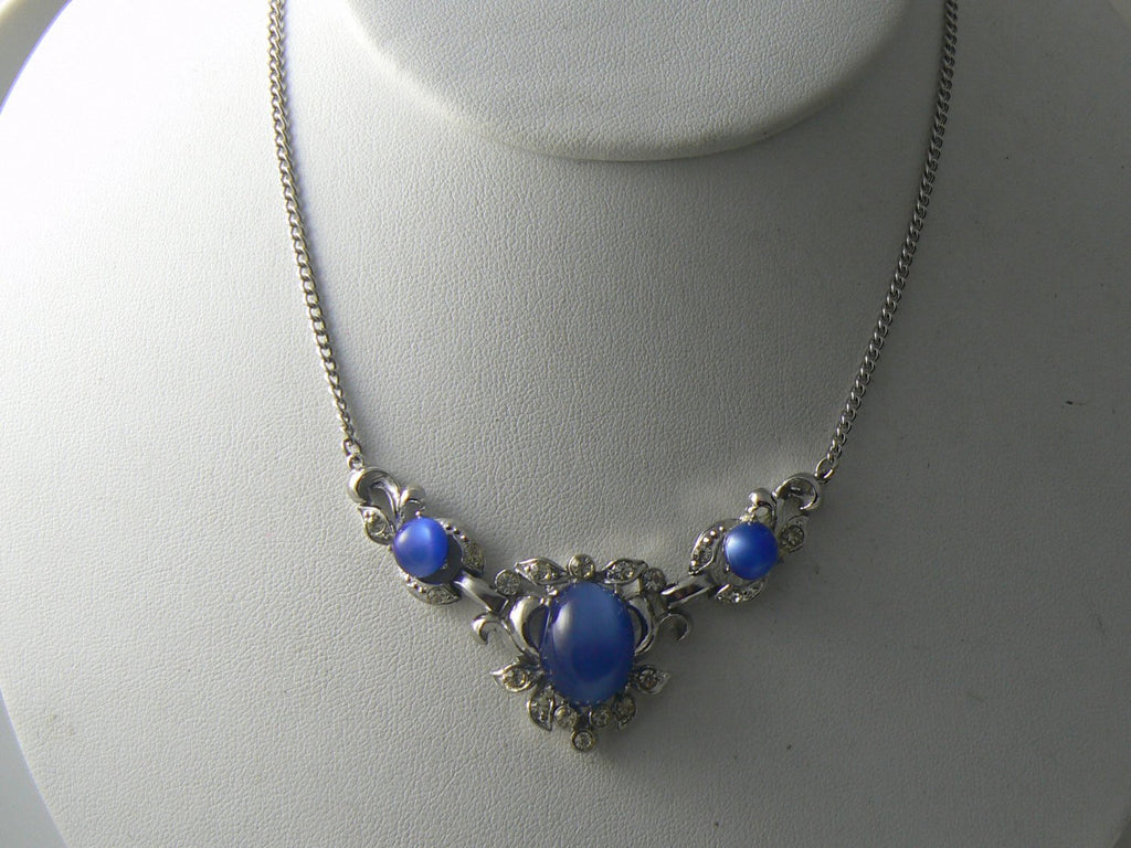 Vintage Art Deco Blue And Clear Rhinestone Necklace - Vintage Lane Jewelry - 2