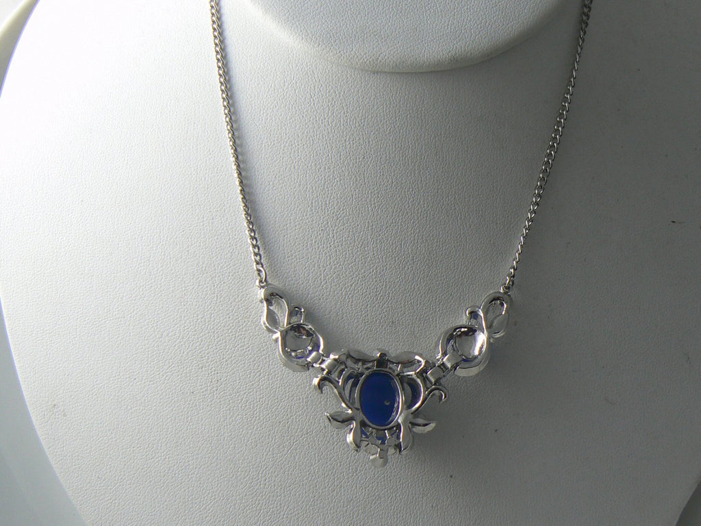 Vintage Art Deco Blue And Clear Rhinestone Necklace - Vintage Lane Jewelry - 3
