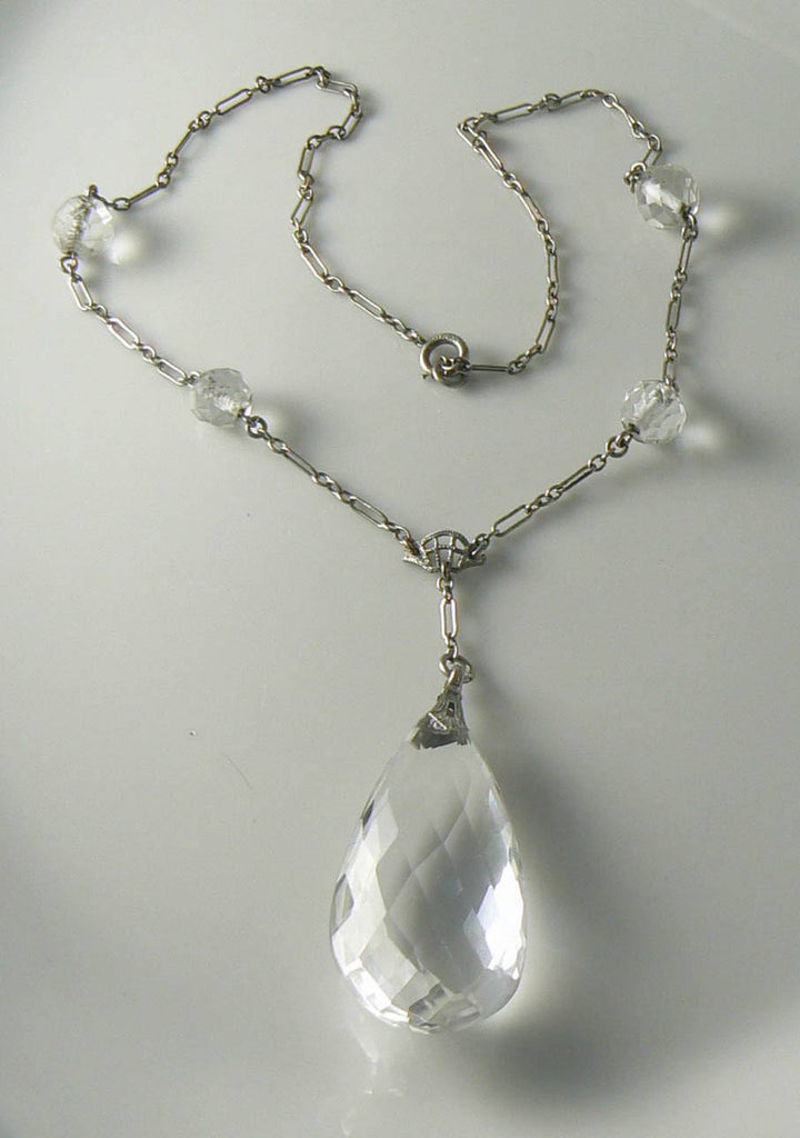 Lovely Art Deco 1920's Sterling Silver Quartz Rock Crystal Necklace - Vintage Lane Jewelry