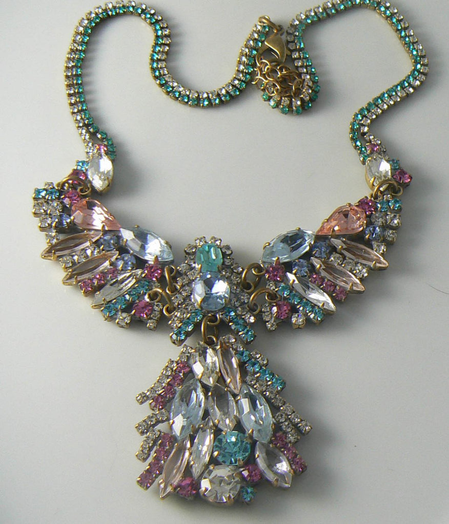 Lilien Czech Pastel Crystal Angel Necklace - Vintage Lane Jewelry