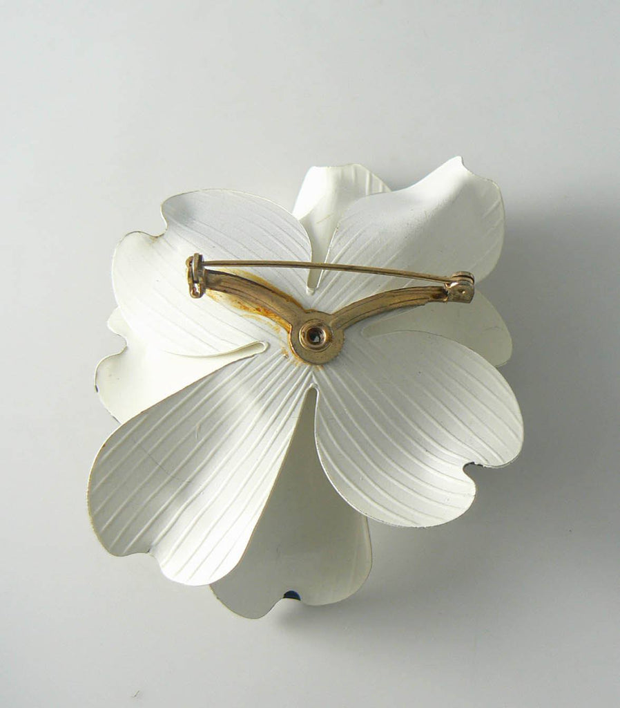 Gorgeous Black And White Enamel Magnolia Brooch - Vintage Lane Jewelry