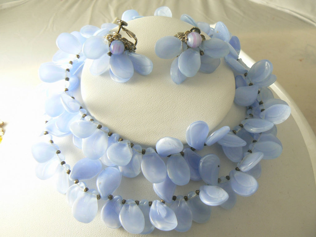 Stunning Miriam Haskell Lavender Blue Glass Necklace And Earring Set - Vintage Lane Jewelry