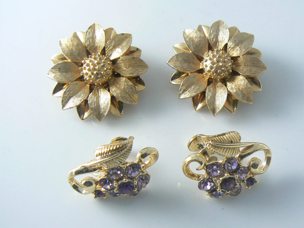 Gold Flower Sarah Coventry And Purple Rhinestone Earrings - Vintage Lane Jewelry - 1