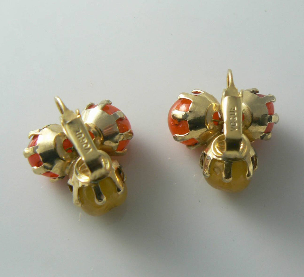 Vintage Vogue Orange And Yellow Clip Earrings - Vintage Lane Jewelry