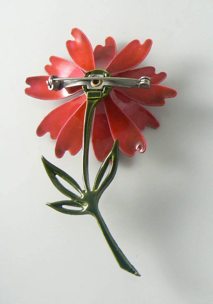 Vintage Red Enamel Daisy Brooch - Vintage Lane Jewelry