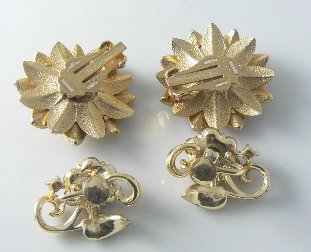 Gold Flower Sarah Coventry And Purple Rhinestone Earrings - Vintage Lane Jewelry